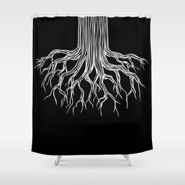 Tree Root Drawing (white on black) Shower Curtain