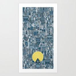 space city sun blue Art Print