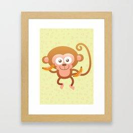 Lovely Baby Monkey Eating Bananas Framed Art Print