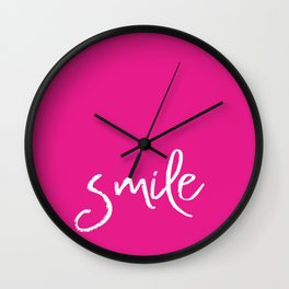 Smile- Funny Typography on simple pink background texture on #society6 Wall Clock