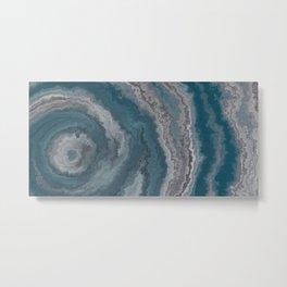 Deep Blue Agate Mineral Texture Metal Print