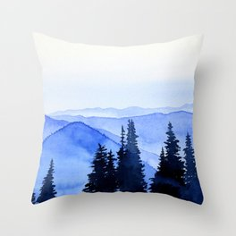 Blue Mountains Landscape Throw Pillow