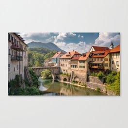 World Popular Ancient Capuchin Bridge Škofja Loka Slovenia Europe Ultra High Resolution Canvas Print
