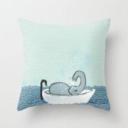 Elephant Takes A Bath Throw Pillow