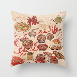 Famous Spicy Chinese Cuisine Throw Pillow