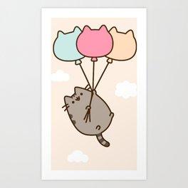 Cat Flying Art Print