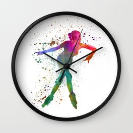 Woman in roller skates 08 in watercolor Wall Clock