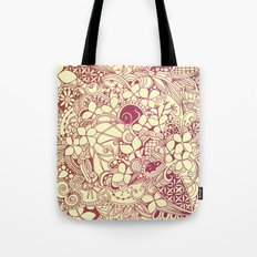 Yellow square, pink floral doodle, zentangle inspired art pattern Tote Bag