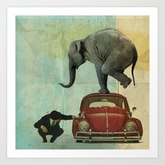 Looking for Tiny _ elephant on a red VW beetle Art Print