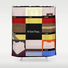 All Good Things - square Minimalist Star Trek TNG The Next Generation 1701 D  startrek  Trektangles Shower Curtain