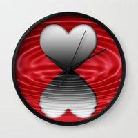 valentine Wall Clocks featuring Valentine by Kathleen Stephens
