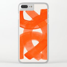 Mid Century Modern Abstract Painting Orange Watercolor Brush Strokes Clear iPhone Case