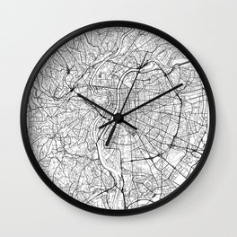 Lyon Map White Wall Clock