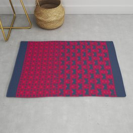 kari - candy apple red and royal blue abstract pattern Rug
