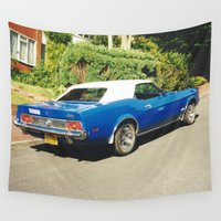 mustang Wall Tapestries featuring Blue And White Mustang by Malcolm Snook