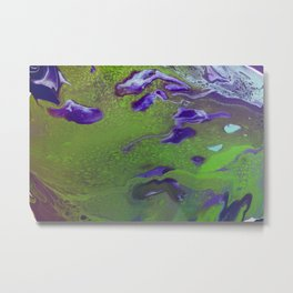 Dirty Acrylic Pour Painting 12, Fluid Art Reproduction Abstract Artwork Metal Print