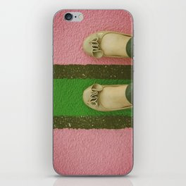 vintage pink & green iPhone Skin
