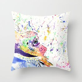Bearded Dragon in full colour Throw Pillow