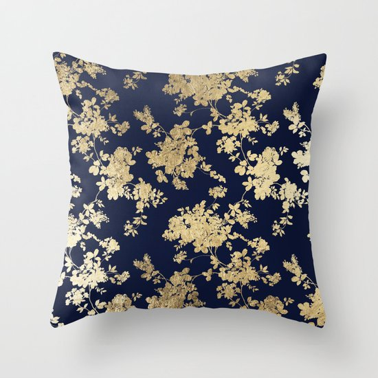 Elegant vintage navy blue faux gold flowers Throw Pillow by Pink Water Society6