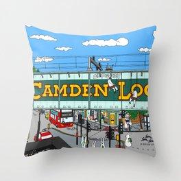 Bunnies in London Camden Lock Throw Pillow