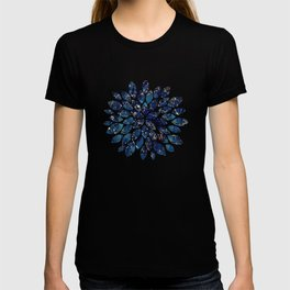 Dark blue stone marble abstract texture with gold streaks T-shirt
