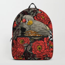 Zebra finch and red rose bush Backpack