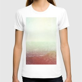 Abstract pastel mint green pink red summer nature landscape T-shirt