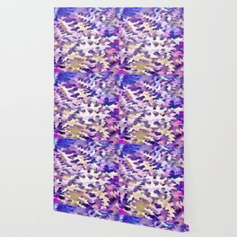 Foliage Abstract Camouflage In Pale Purple and Violet Pastels Wallpaper