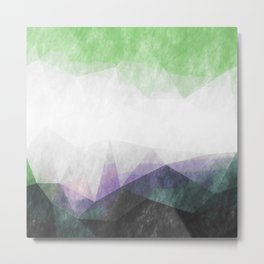 On the mountains- green watercolor - triangle pattern Metal Print