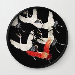 Flying Japanese Cranes Wall Clock