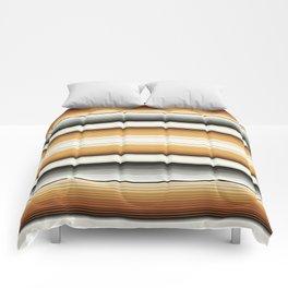 Navajo White, Gray, Black and Amber Brown Southwest Serape Blanket Stripes Comforters