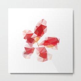 Red Polygonal Flower Metal Print
