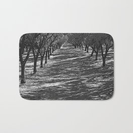 Black & White Almond Orchard Pencil Drawing Photo Badematte