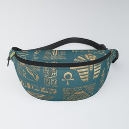 Egyptian hieroglyphs and deities - Gold on teal Fanny Pack
