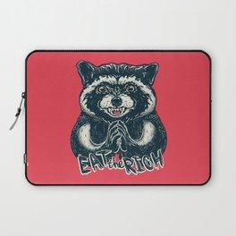 Eat the Rich - Evil Raccoon - Funny Socialist Animal Socialism Saying Quote Millionaire Billionaire Laptop Sleeve