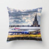 british Throw Pillows featuring British Airways  by David Pyatt