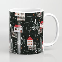 Christmas Village Church House Vector Pattern Coffee Mug