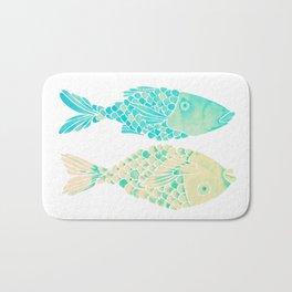 Indonesian Fish Duo – Turquoise & Cream Palette Bath Mat