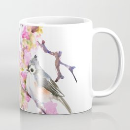 Titmice and Cherry Blossom, spring bird cottage style pink gray design Coffee Mug