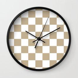 Checkered - White and Khaki Brown Wall Clock