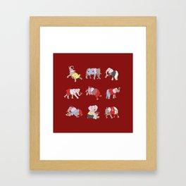 Elephants in College Framed Art Print