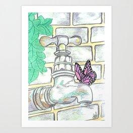 Garden tap and butterfly Art Print