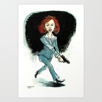dana scully Art Prints featuring Dana Scully by David R. Vallejo