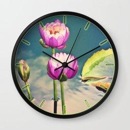 Pink Lotus Flowers (Namaste) Wall Clock