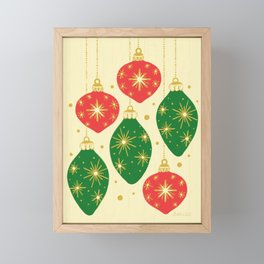 Vintage Festive Hand-painted Christmas Tree Ornaments with Beautiful Acrylic Texture, Green and Red Framed Mini Art Print