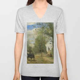 """Jean-Baptiste-Camille Corot """" Road on the outskirts of a town, in Brie"""" Unisex V-Neck"""