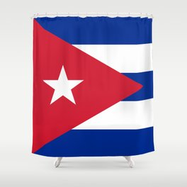 Flag of Cuba - Banner version (High Quality Image) Shower Curtain