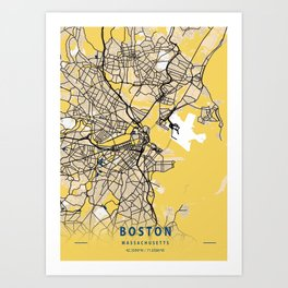 Boston Yellow City Map Art Print