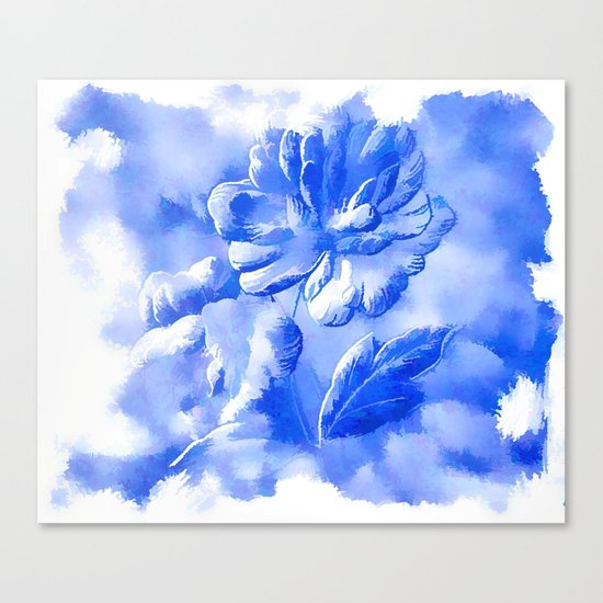 Cyan Painterly Flower Abstract Canvas Print