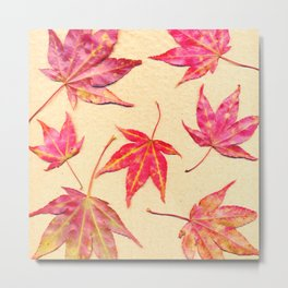 Japanese maple leaves - coral red on pale yellow Metal Print